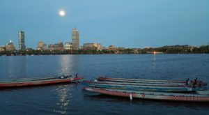 Wellness Warriors empty dragon boats and skyline